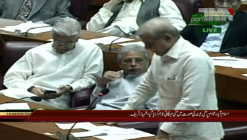 Islamabad- Opposition Leader Shahbaz Sharif views in NA
