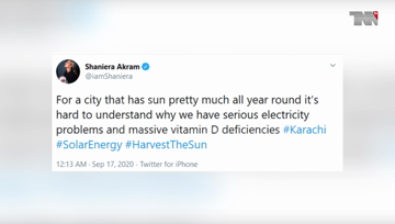 Karachi- Shaniera Akram is fed up with load shedding