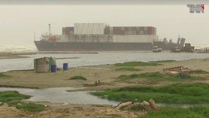 Karachi- Preparations for operation on August 15 to rescue a ship stranded on Sea View